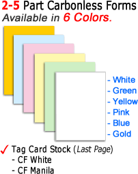 Carbonless Form Color Sequence backprinting tag card