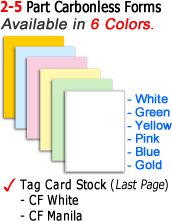 Carbonless Form Paper Color Sequence